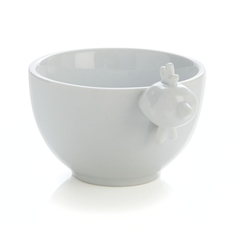 Designer Mark Daniel brings the farm straight to the table in this whimsical bowl embellished with a perky rooster. Modeled head adds 3D personality to large size bowl that can be partnered with large bull and medium cow bowls for the complete barnyard experience.<br /><br /><NEWTAG/><ul><li>Designed by Mark Daniel</li><li>Porcelain</li><li>Dishwasher-, microwave- and oven-safe up to 350 degrees</li><li>Made in China</li></ul>