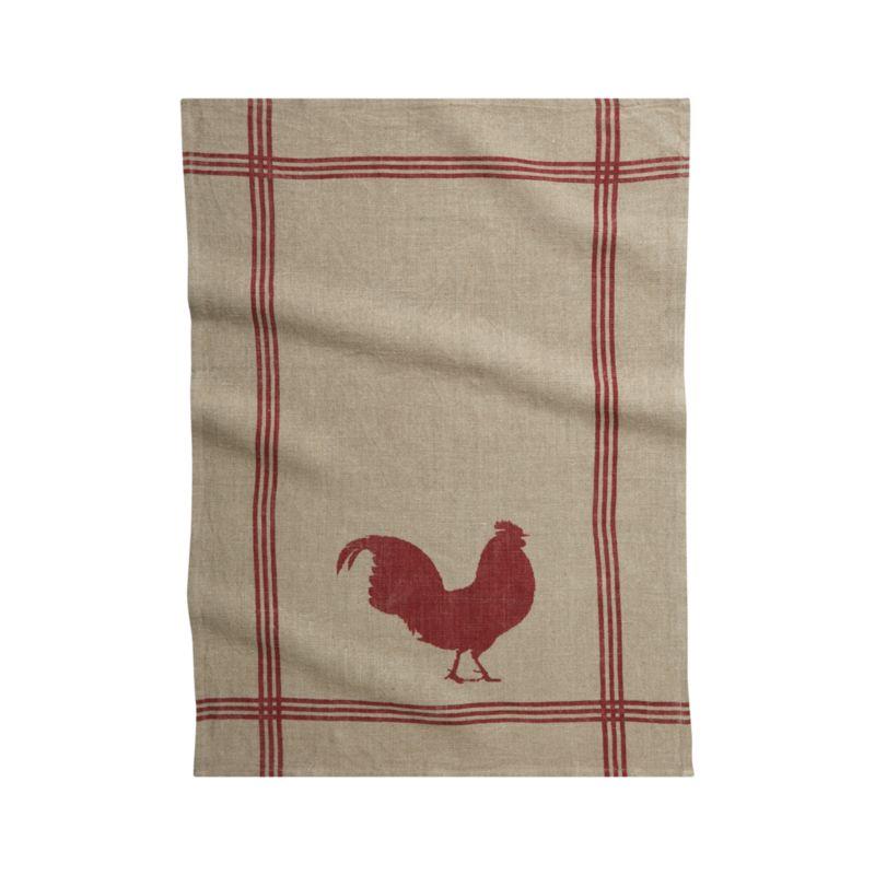 Rooster Linen Dishtowel