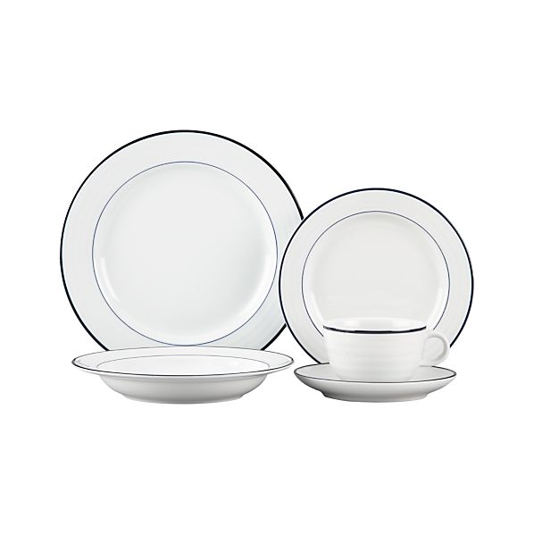 Roulette Blue Band 5-Piece Place Setting with Low Bowl