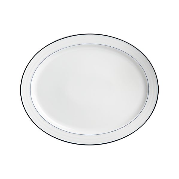 Roulette Blue Band Large Oval Platter