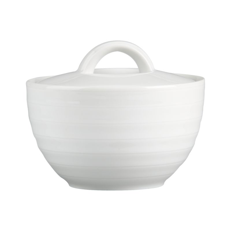 Our Roulette sugar bowl features subtle concentric circles that create a soothing ripple effect in durable, pure white porcelain. Roulette dinnerware also available.<br /><br /><NEWTAG/><ul><li>Porcelain</li><li>Designed by Queensberry-Hunt</li><li>Dishwasher- and microwave-safe</li><li>Made in Portugal</li></ul>