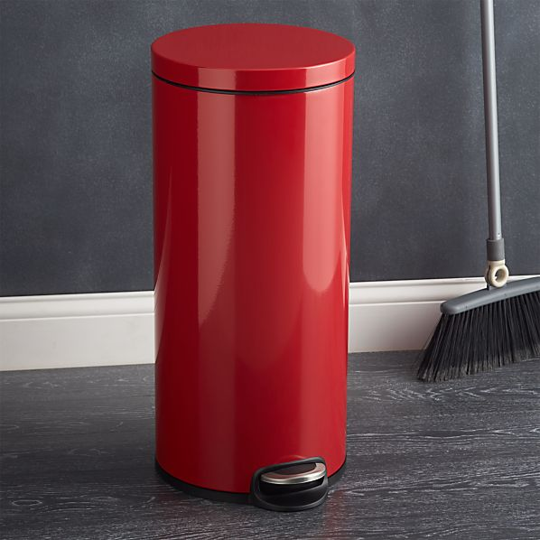 Round Red 8-Gallon Stainless Steel Step Trash Can