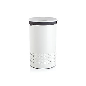Round White Hamper