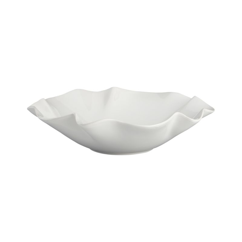 Freeform waves of ruffles and folds in high-gloss white earthenware make a big impression at the table or buffet.<br /><br /><NEWTAG/><ul><li>Earthenware</li><li>Dishwasher safe on low heat setting</li><li>Made in Portugal</li></ul>