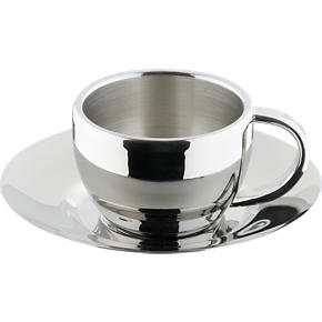 Stainless Steel Espresso Cup with Saucer