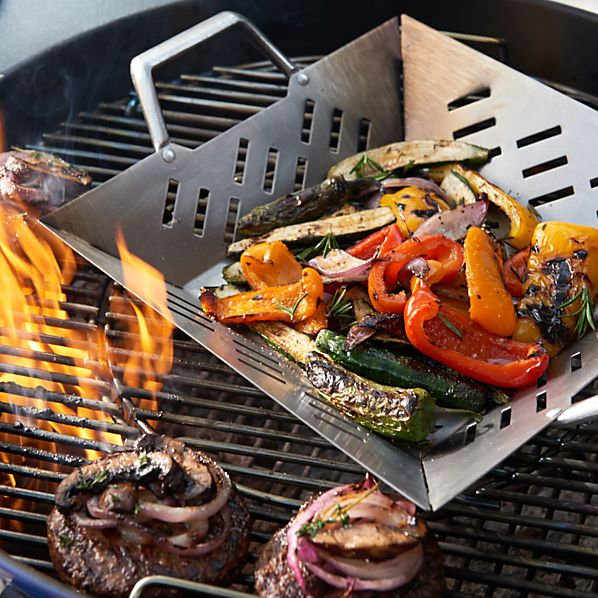 Stainless Steel Square Grill Basket with Cast Handles