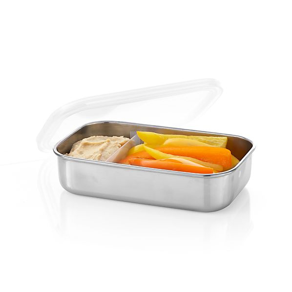 U Konserve® Rectangular Stainless-Steel  Divided Container with Clear Lid