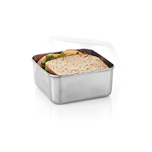 Konserve Medium Square Stainless-Steel Container with Clear Lid