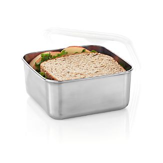 Large Square Stainless-Steel Container with Clear Lid