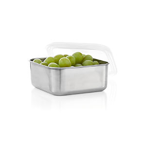 Medium Square Stainless-Steel Container with Clear Lid