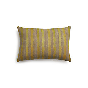 "Saffron Stripe 24""x16"" Pillow with Down-Alternative Insert"