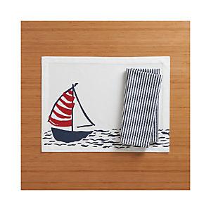 Sailboat Placemat and Seersucker Navy Napkin