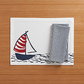 Sailboat Placemat and Seersucker Navy Napkin