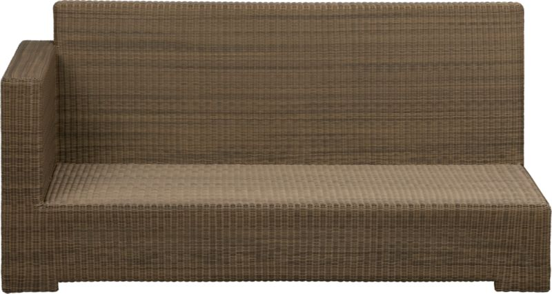 Ease into the new Sanibel lounge collection. With a breezy cabana look, resort-style seating is handwoven in all-weather resin wicker with warm honey and caramel tones. Small, tight weave wraps with precision over sturdy powdercoated aluminum. Modular group configures sectional arrangements to any size outdoor space.<br /><br /><NEWTAG/><ul><li>Hand-woven, fade-resistant, recyclable resin wicker</li><li>Aluminum frame with powdercoat finish</li><li>For indoor or outdoor use</li><li>Made in Indonesia</li></ul>