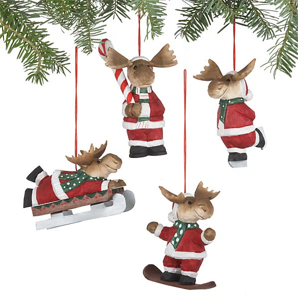 Set of 4 Santa Moose Ornaments