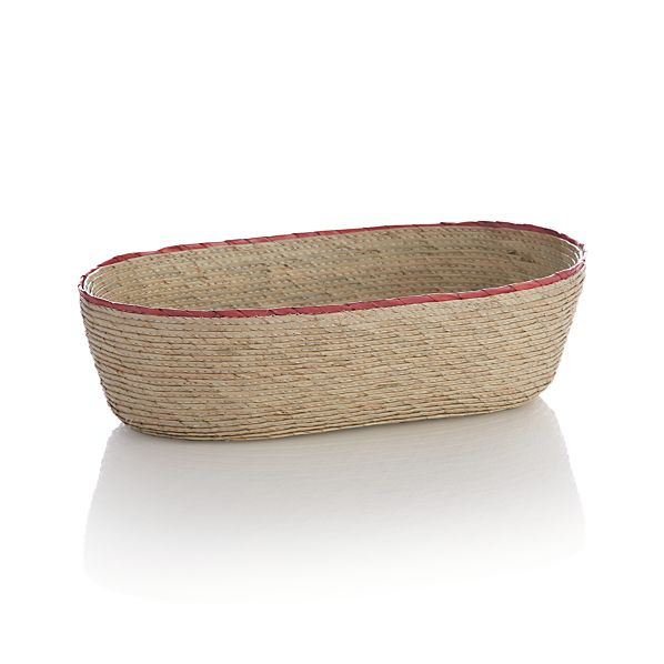 Sarinana Small Oval Basket with Coral Rim