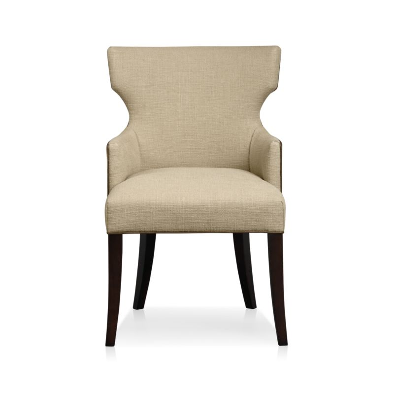 Pull glamour up to the table with Sasha, a modern upholstered chair that cuts a striking silhouette. <NEWTAG/><ul><li>Certified sustainable hardwood frame</li><li>Soy-based polyfoam seat and back cushions</li><li>Web suspension system</li><li>Leather welt trim</li><li>Leg finish in hickory</li><li>Material origin: see swatch</li><li>Made in North Carolina, USA</li></ul>