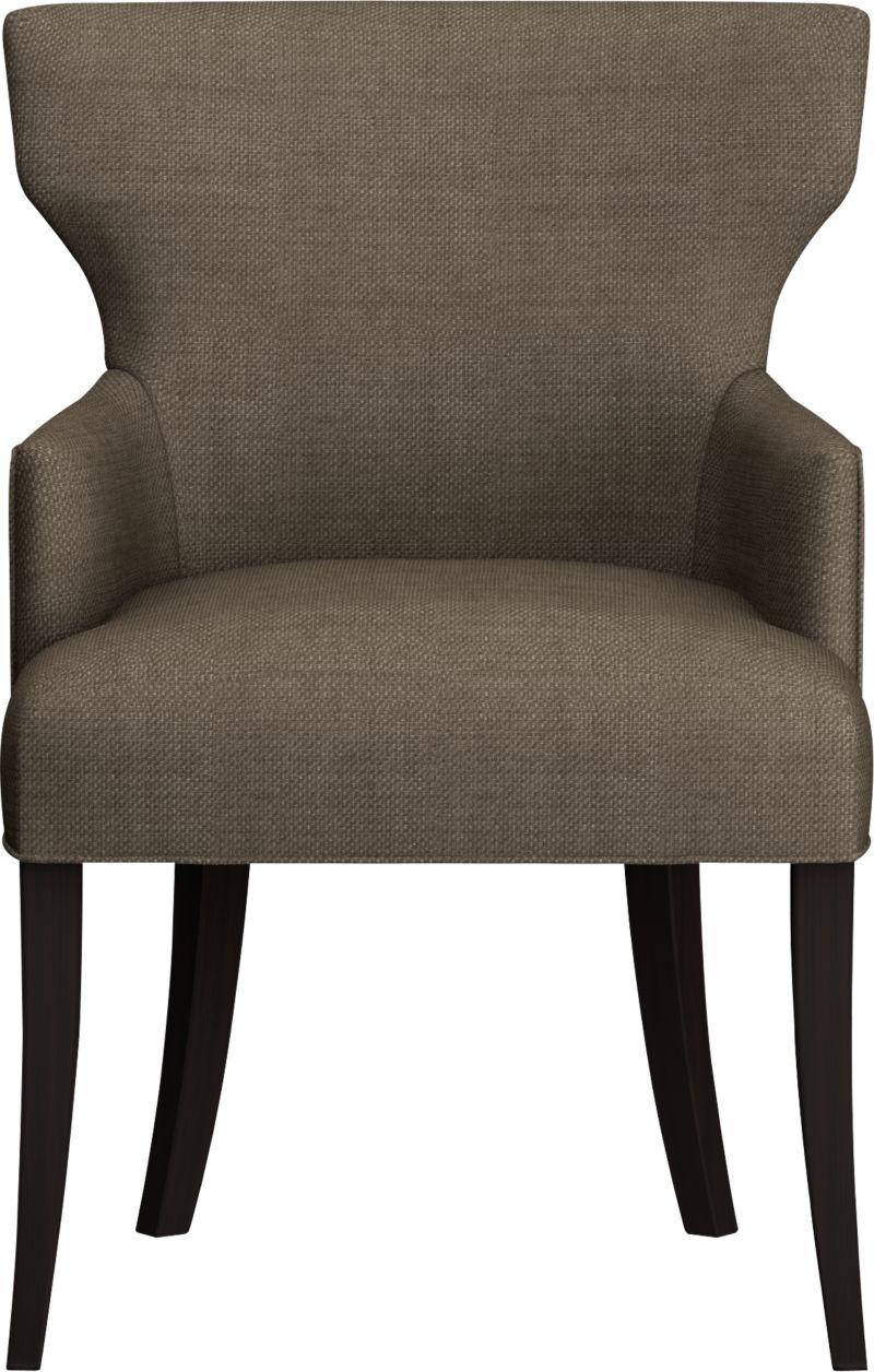 "Glamour returns to the table in a modern upholstered chair with sensuous curves at the shoulders, a trim cinched waist, and a great pattern that can mix with most anything. Plush seats and padded backs are upholstered in a textured basketweave fabric that's polished and refined. Classic modern hardwood legs are stained a rich cognac.<br /><br />After you place your order, we will send a fabric swatch via next day air for your final approval. We will contact you to verify both your receipt and approval of the fabric swatch before finalizing your order.<br /><br /><NEWTAG/><ul><li>Eco-friendly construction</li><li>Certified sustainable, kiln-dried hardwood frame</li><li>Tight seat and back cushions with soy-based foam and web suspension</li><li>Textured polyester fabric with self-welt detail</li><li>19""H seat</li><li>Made in North Carolina, USA</li></ul>"