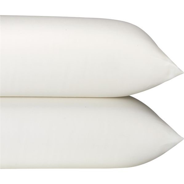 Set of 2 Sateen Ivory King Pillowcases