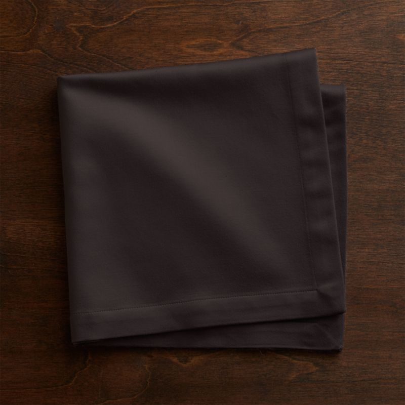 """Rayon/cotton blend sateen napkin complements casual and formal dining with elegant sheen and versatile solids. Napkin is tailor finished with 1"""" hem.<br /><br /><NEWTAG/><ul><li>55% rayon and 45% cotton</li><li>Machine wash napkin cold, dry flat; warm iron as needed</li><li>Made in India</li></ul>"""