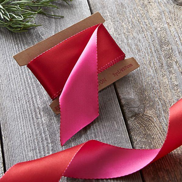 Red and Pink Satin Ribbon