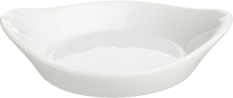 Glossy whiteware shaped for sauces, condiments and nibbles. Gratin-inspired round features flared handles.<br /><br /><NEWTAG/><ul><li>Porcelain</li><li>Dishwasher-, microwave- and oven-safe</li><li>Made in China</li></ul>