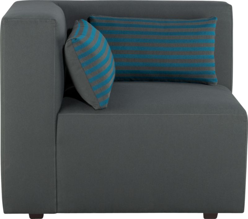 Our Savino modular sectional brings home the Italian fashion runway's hottest trend—graphic chromatic bands and color block solids. Lofty box cushion and low-profile tight back in topstitched charcoal are expertly tailored with luxurious comfort in mind. Must-have accessory: fun rectangular low-back throw pillows that reverse from narrow aqua stripes to solid charcoal. Mix and match striped and solid components in deep aqua and charcoal to suit your space.<br /><br />After you place your order, we will send a fabric swatch via next day air for your final approval. We will contact you to verify both your receipt and approval of the fabric swatch before finalizing your order.<br /><br /><NEWTAG/><ul><li>Eco-friendly construction</li><li>Certified sustainable, kiln-dried hardwood frame</li><li>Sinuous wire spring suspension with 60-90% recycled material</li><li>Tight seat and back cushion are