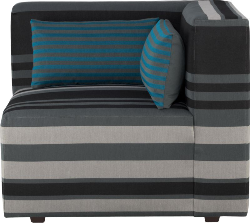 Our Savino modular sectional brings home the Italian fashion runway's hottest trend—stripes. Mix and match components to your space with graphic chromatic bands and color block solids in deep aqua and charcoal. Lofty box cushions and low-profile tight backs expertly tailored with precision matching and topstitching block together in handsome geometrics fashioned with luxurious comfort in mind. Must-have accessory: fun rectangular low-back throw pillow that reverses from narrow aqua stripes to solid charcoal.<br /><br />After you place your order, we will send a fabric swatch via next day air for your final approval. We will contact you to verify both your receipt and approval of the fabric swatch before finalizing your order.<br /><br /><NEWTAG/><ul><li>Eco-friendly construction</li><li>Certified sustainable, kiln-dried hardwood frame</li><li>Sinuous wire spring suspension with 60-90% recycled material</li><li>Tight seat and b