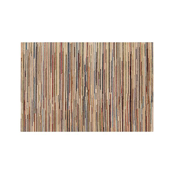Savoy Cream Striped Wool 6'x9' Rug
