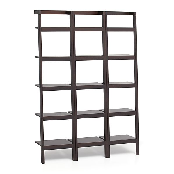 "Sawyer Mocha Leaning 18"" Bookcases Set of Three"