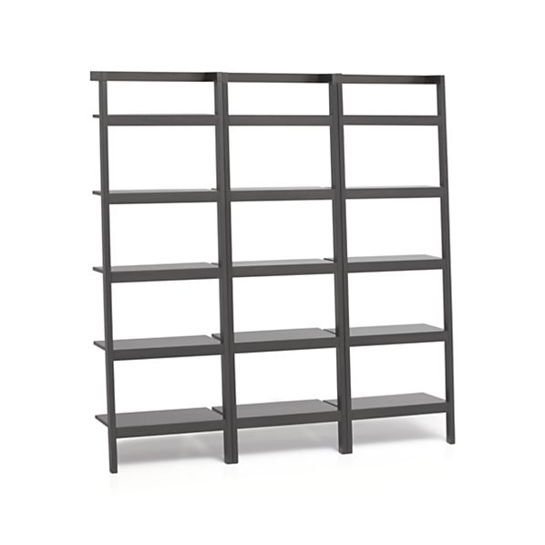 "Sawyer Grey Leaning 25"" Bookcases Set of Three"