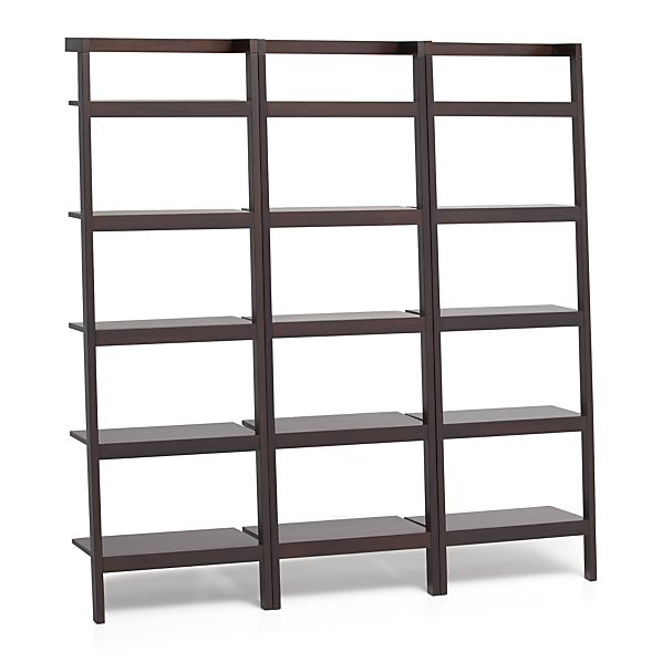 "Sawyer Mocha Leaning 25"" Bookcases Set of Three"
