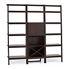 Sawyer Mocha Leaning Wine Bar with Two 24.5'' Bookcases.