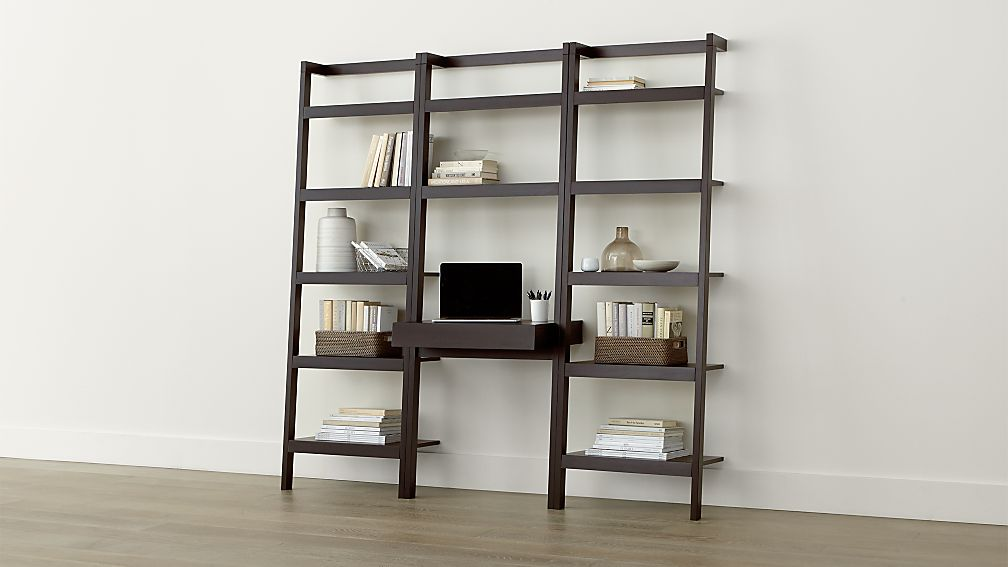 sawyer mocha leaning desk with two 24 5 bookcases in. Black Bedroom Furniture Sets. Home Design Ideas