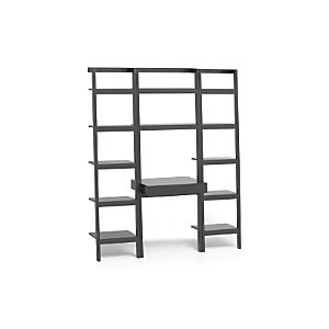 "Sawyer Grey Leaning Desk with Two 18"" Bookcases"