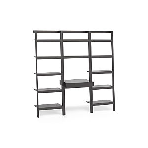 "Sawyer Grey Leaning Desk with Two 25"" Bookcases"