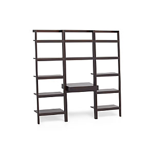 "Sawyer Mocha Leaning Desk with Two 25"" Bookcases"