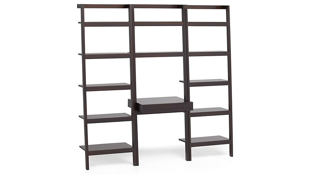 Sawyer Mocha Leaning Desk With Two 24 5 Quot Bookcases In