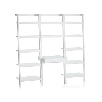 "Sawyer White Leaning Desk with Two 25"" Bookcases"
