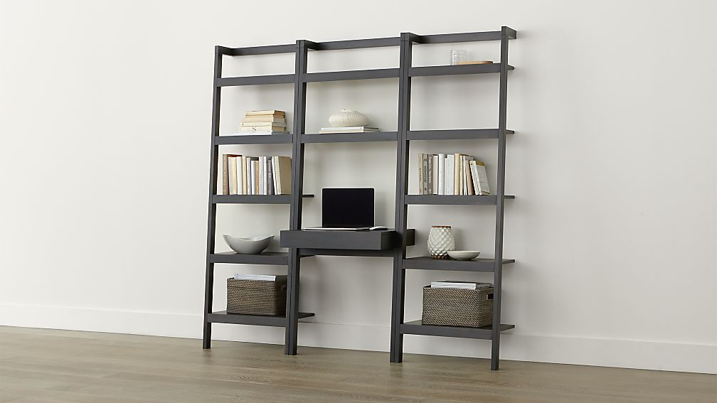 Sawyer Grey Leaning Desk With Two 24 5 Quot Bookcases In Desks