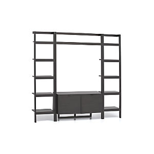 Sawyer Grey Leaning Media Stand with Two 18'' Bookcases