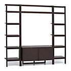 Sawyer Mocha Leaning Media Stand with Two 18'' Bookcases.