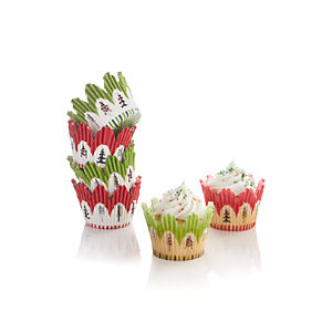 Set of 48 Scalloped Christmas Cupcake Papers