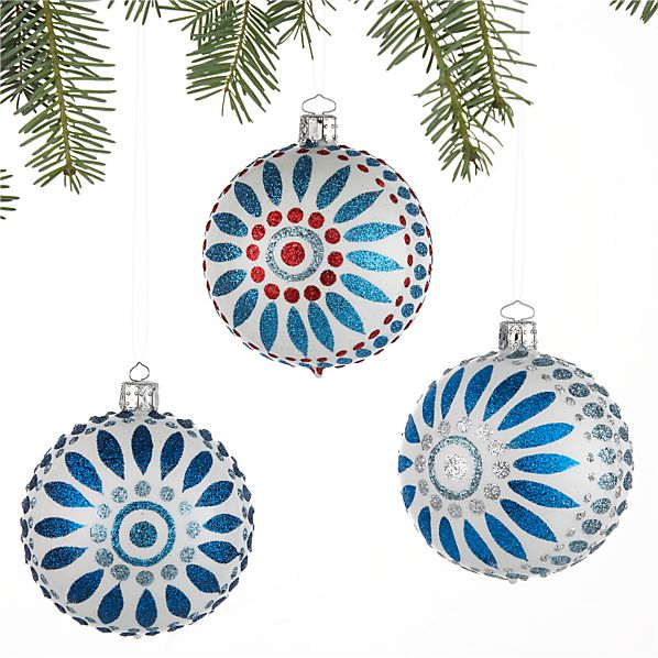 Set of 3 Scandi Flower Ball Ornaments