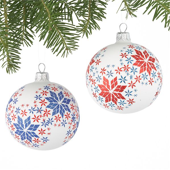 Set of 2 Scandi Snowflake Ball Ornaments