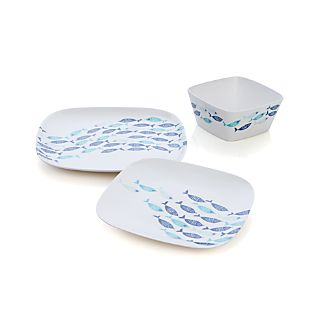 School of Fish Melamine Square Dinnerware