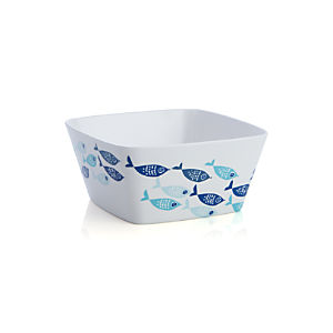 School of Fish Melamine Square Bowl