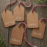 5-Piece Natural Kraft Paper Script Gift Tag Set