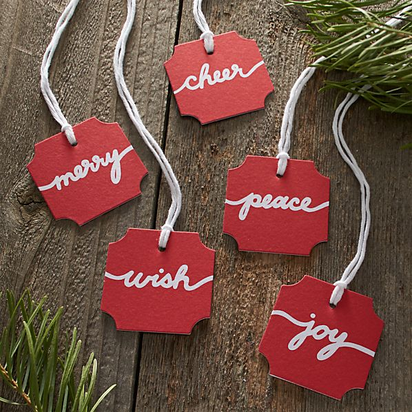 5-Piece Red and White Paper Script Gift Tag Set