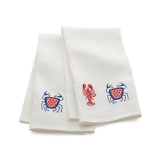 Seashore Embroidered Waffle Dish Towels Set of Two